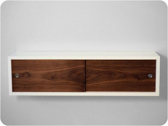 Floating Shelf Cabinet - White Lacquer with Walnut Sliding Doors ...