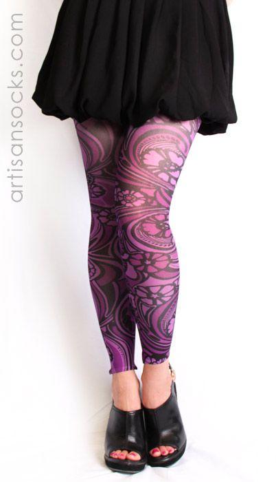be09c50c70c5e Plus Size Purple Floral Art Nouveau Footless Tights from Artisan Socks  www.artisansocks.com
