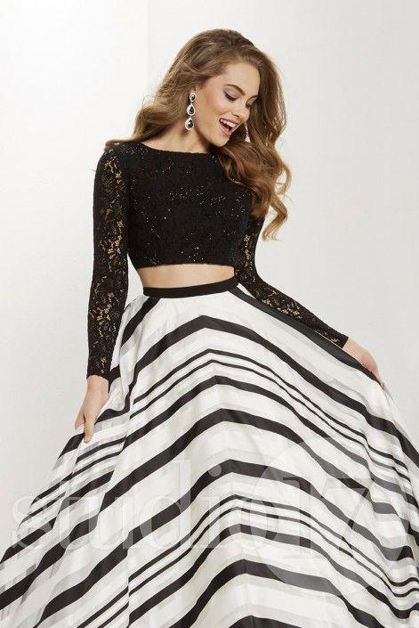 Studio 17 12701 Long Sleeve 2pc Striped Prom Dress | Pinterest ...
