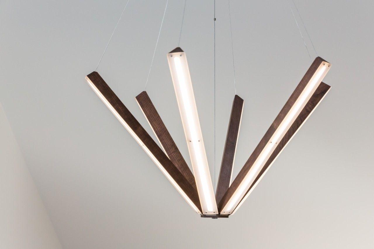 Original And Unique Wooden Chandelier With Led Lighting Lighting Woodlighting Hightechchandelier Modernchandelier Woode Wooden Chandelier Led Led Color