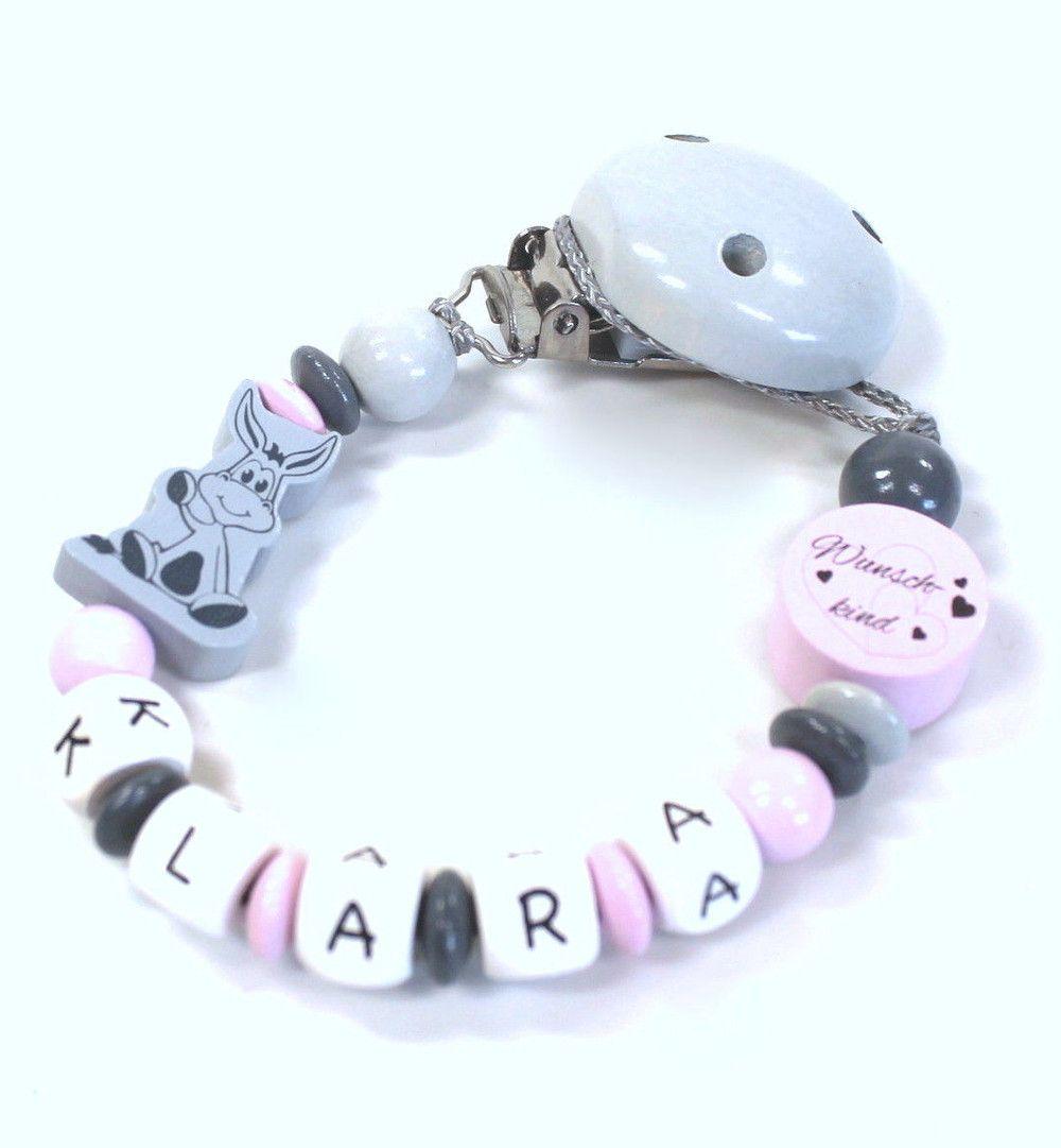 Schnullerkette mit Namen Schildkröte Mädchen Baby pastell