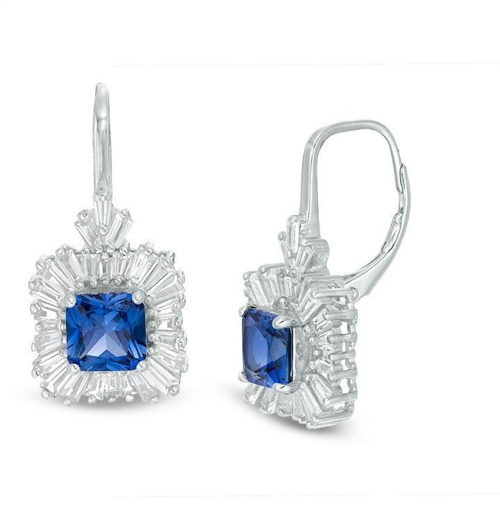 Zales 6.0mm Lab-Created Blue and White Sapphire Frame Drop Earrings in Sterling Silver VdUyFW
