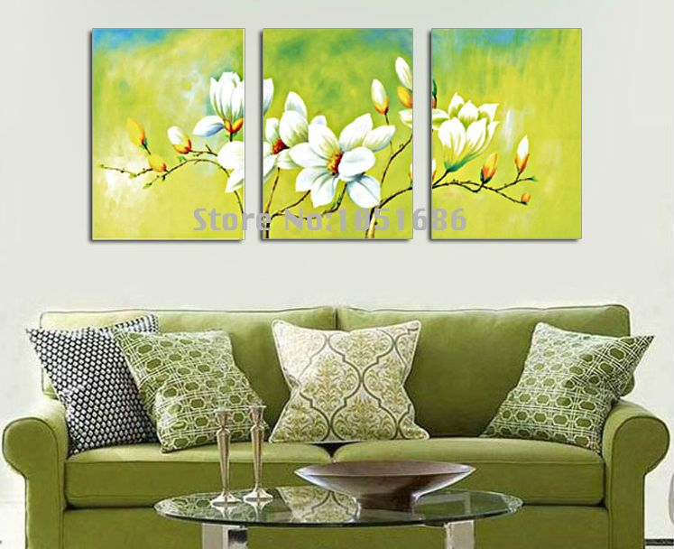 Hand Painted Modern Abstract Oil Paintings White Flower Decoration ...