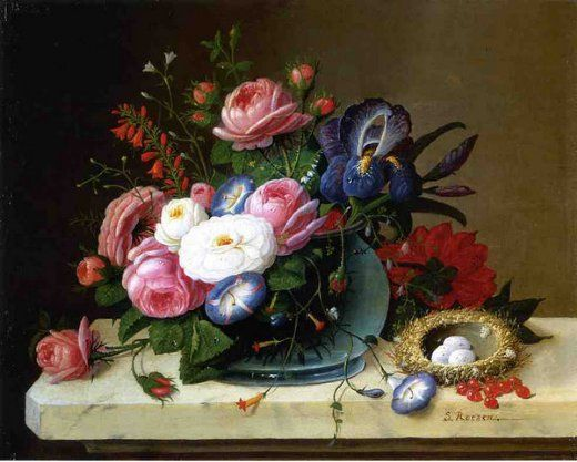 Severin Roesen, Still Life with Flowers