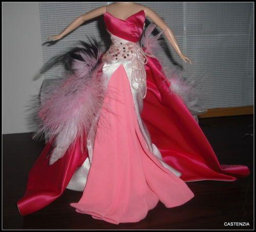 DRESS /& HEADDRESS ONLY MATTEL BARBIE THE FLAMINGO PINK FEATHER GOWN SILKSTONE