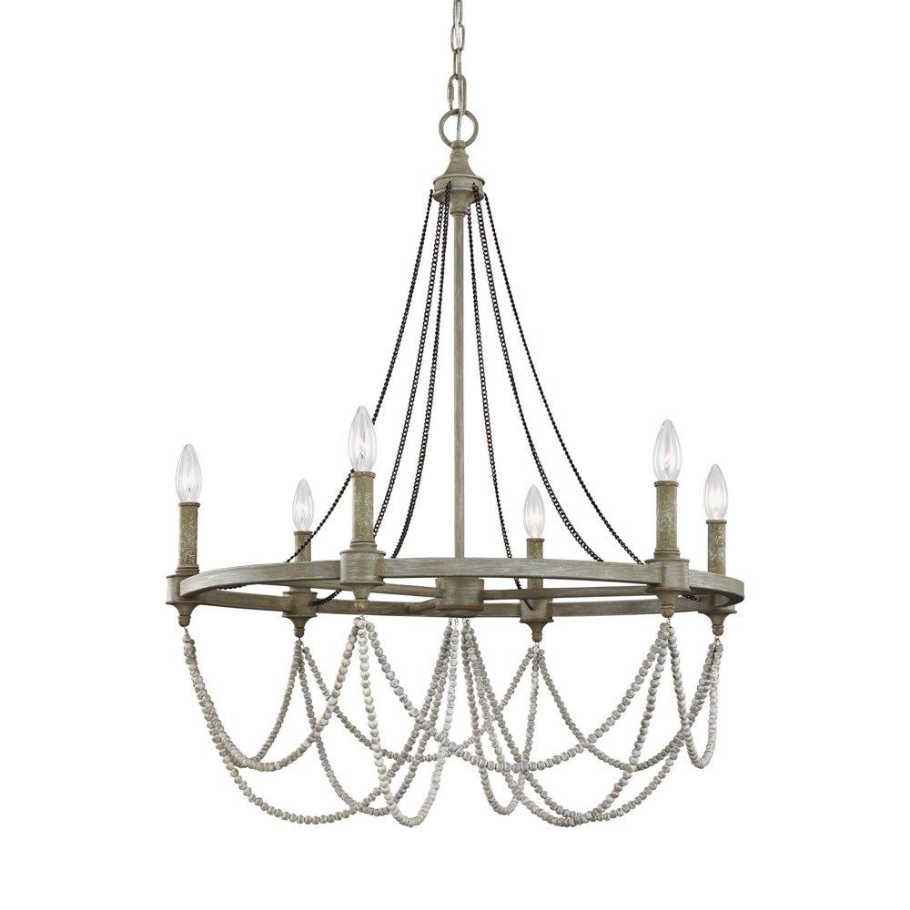 Feiss Lighting Beverly 6 Light Chandelier In French Washed Oak