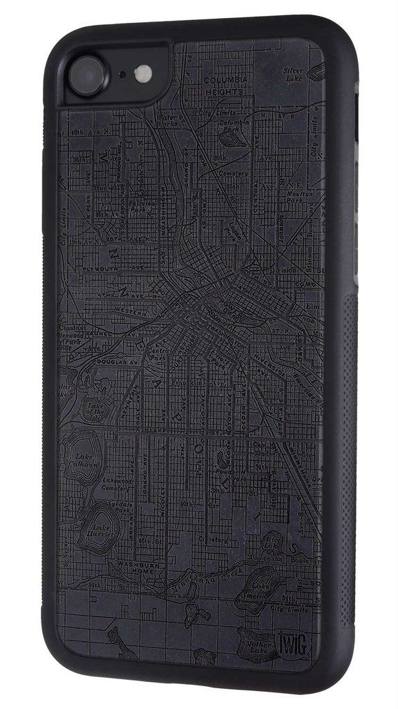 Minneapolis Streetcar Map - Paper Case for iPhone 7 & 7 Plus by Twig Case Co. in Asphalt Black / iPhone 7 - Made from Paper, Stronger than Wood  - 1