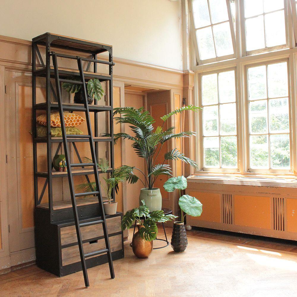 Mooie Houten Boekenkast.Boekenkast Deb Industriele Kast Met Ladder Kast