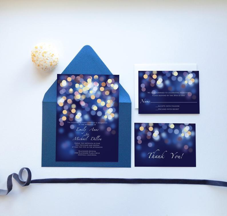 Bokeh Flowers Wedding: Printable Gold And Blue Bokeh Wedding Invitation