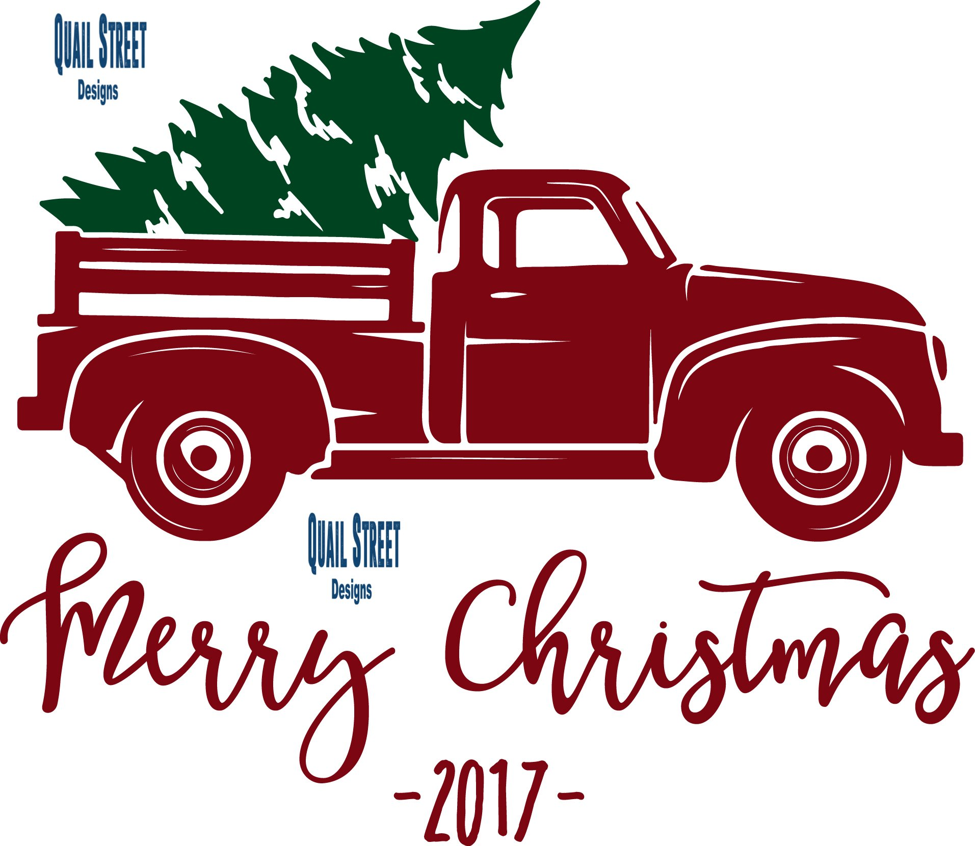 Vintage Red Truck With Christmas Tree Dated 2017 Vinyl