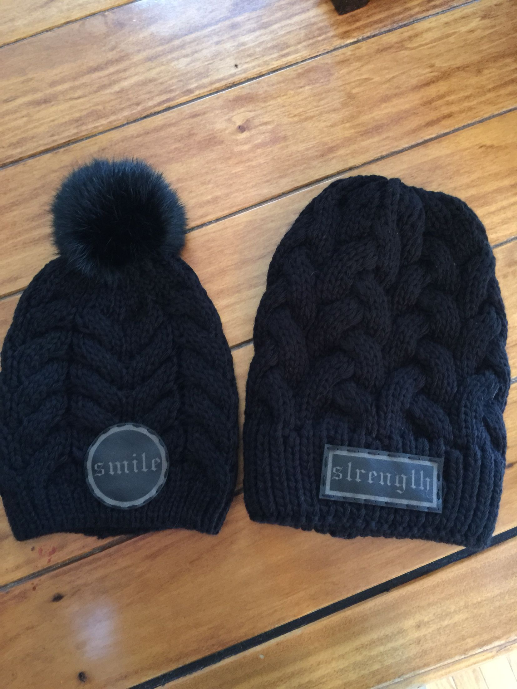 Custom leather patches with STRENGTH and SMILE on floppy and pompom beanie  by Hippy Spirit 2d309b16219