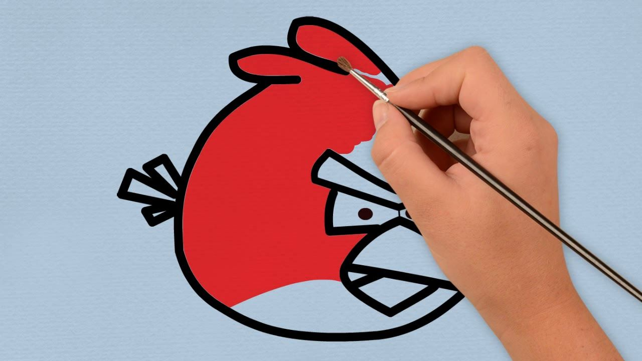 Angry bird coloring page for kids how to draw a bird