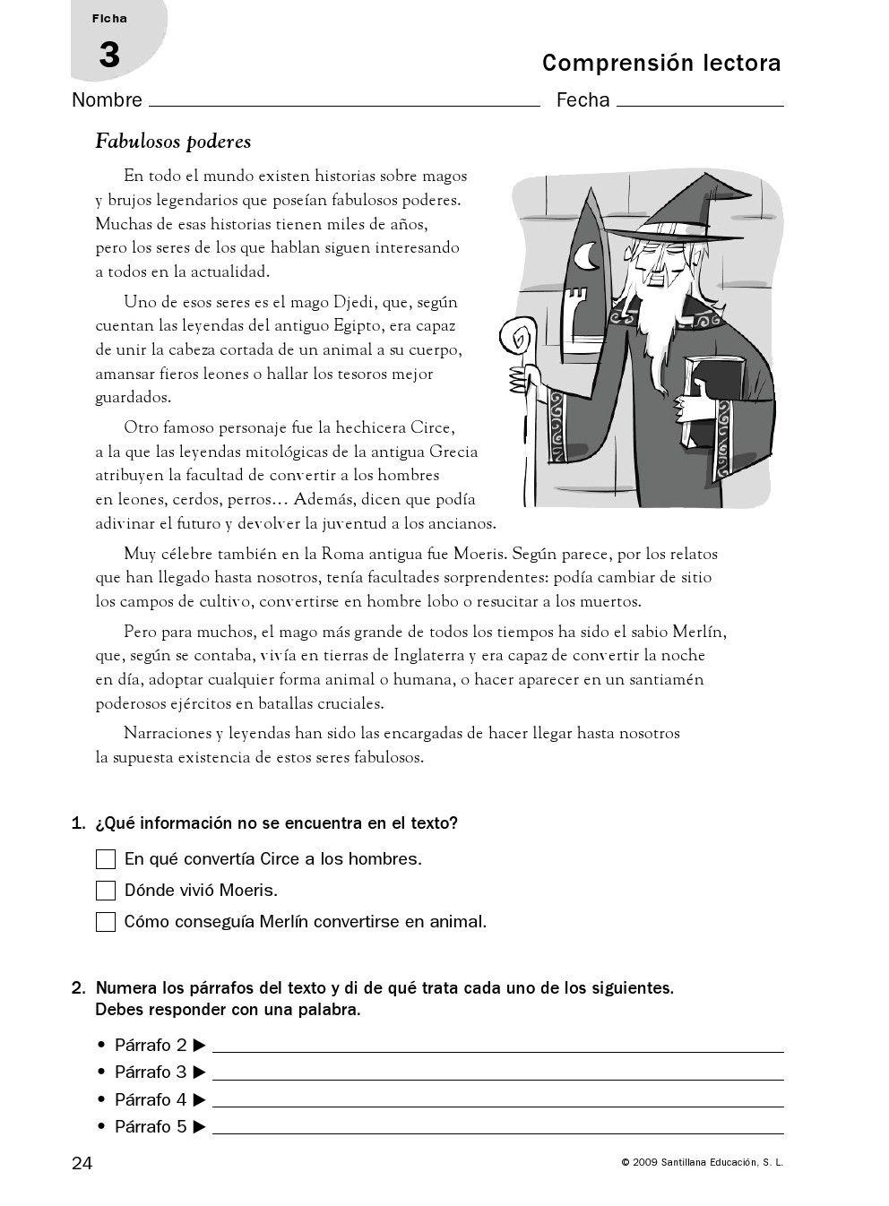 RECURSOS PRIMARIA | Fichas de comprensión lectora para 6º ...