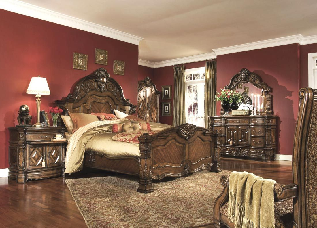 Bedroom Sets Designs art van 6 piece king bedroom set Wood Decorating Ideas For Luxurious Dark Red And White Themed Bedroom With Luxury Dark Brown Wood
