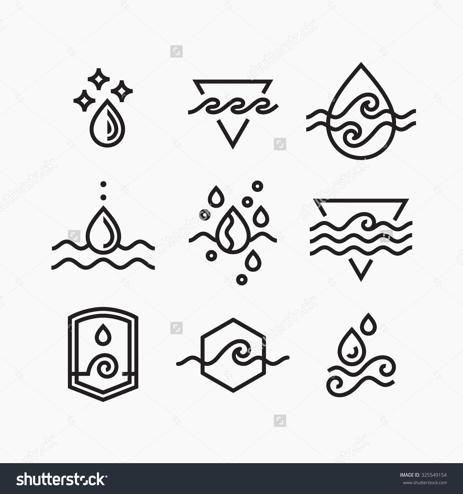 Vector Line Set Of Water Symbols Outline Isolated Icons Line Art