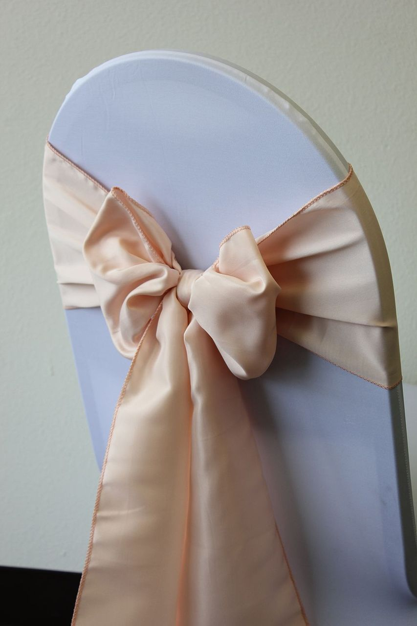L Amour Satin Chair Sashes Blush Blushweddings Blushtablelinens With Images Wedding Chair Sashes Wedding Chair Bows Chair Sashes