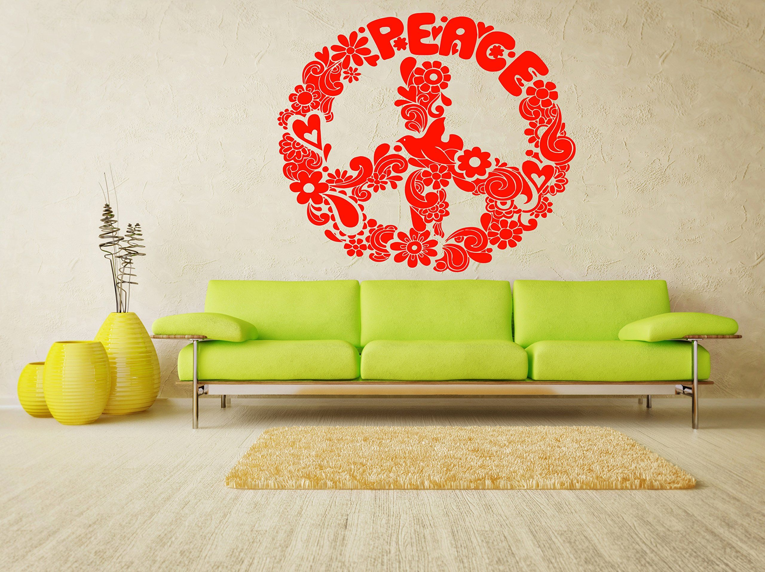 Peace Sign Bedroom Decor Wall Room Decor Art Vinyl Decal Sticker Mural Peace Sign Large Big