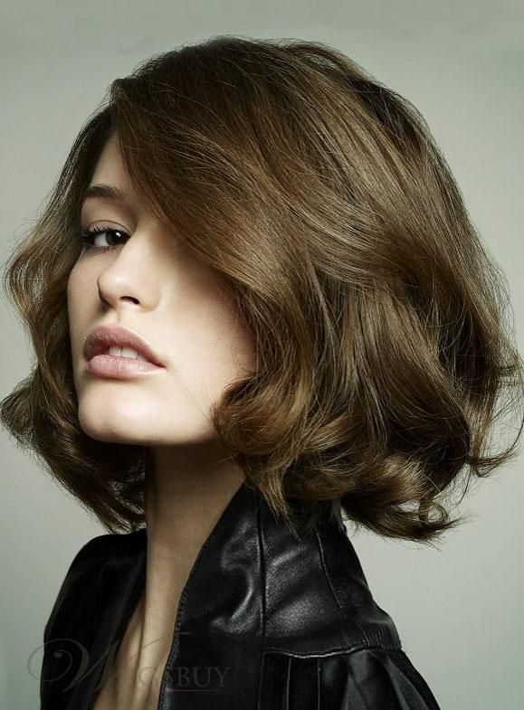 Hand Knotted 100 Human Hair Trendy Exquisite Cut Bob Hairstyle Medium Silky Wavy Brown Lace Wig 10 Inches