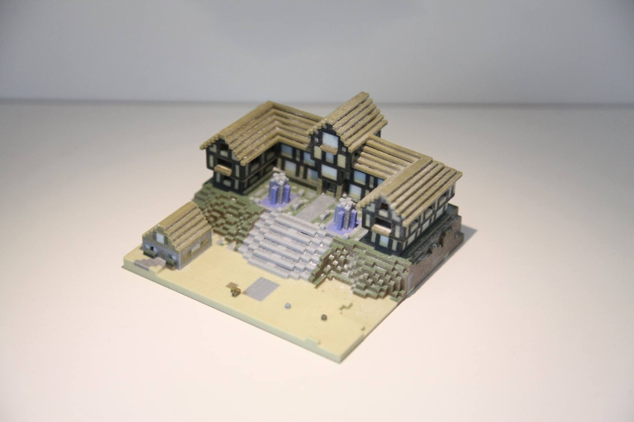 Check out this #minecraft #house we #3d printed! You can see the workbench and stairs inside the house!  Contact us (service@3dhobby.co.nz) today to get your minecraft world exported and printed!