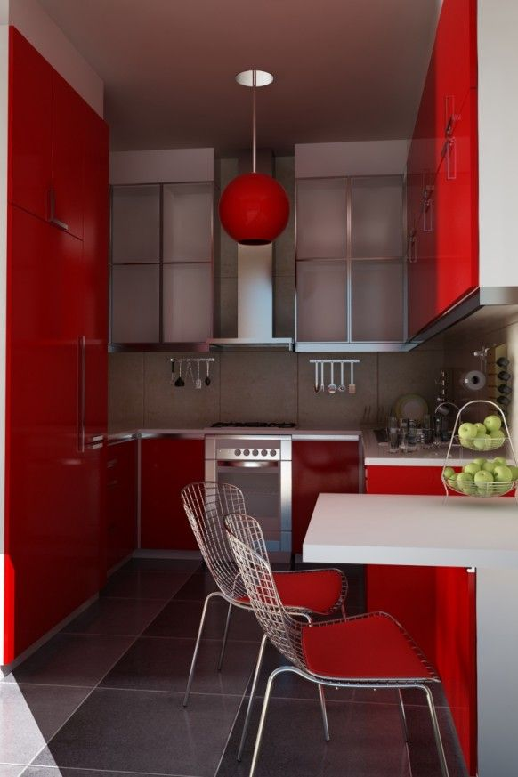 kitchen (red with teal/aqua/turquoise accents, pop of pink, orange ...
