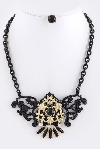 This necklace royalty with its classic bewitching black & gold detail is pure vintage glam guaranteed to make a statement!   Necklace, Jewelry, Accessories, Fashion, Trendy, Trends, Stylish, Hot, Dope