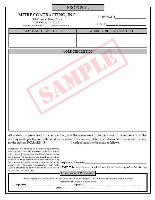 Sample Contractor Bid Proposal Form Fill In Forms Free Printable Job