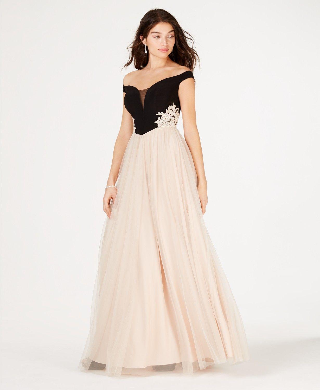 Blondie Nites Juniors Off The Shoulder Applique Gown Dresses Women Mac Prom Dresses Long With Sleeves Prom Dresses With Sleeves Formal Dresses For Women [ 1500 x 1230 Pixel ]