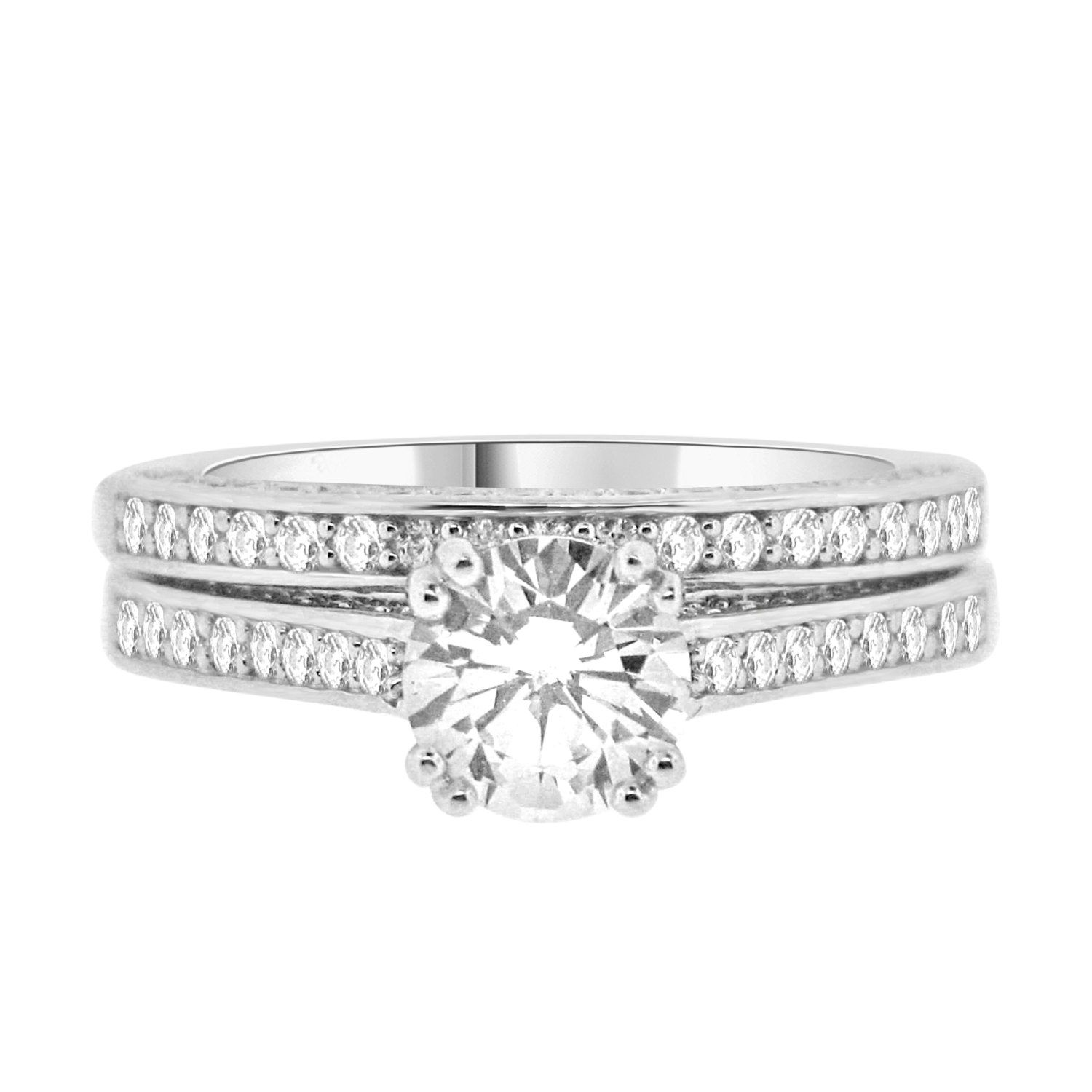 ring diamond shoulders set setting settings with claw jewellery channel centre engagement
