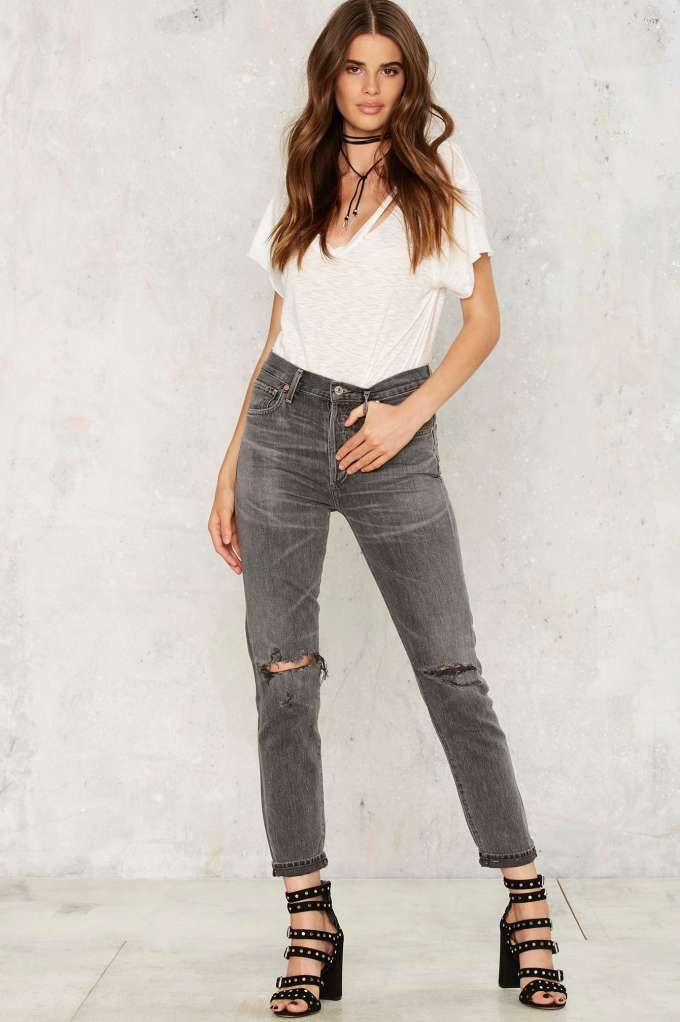 Citizens of Humanity Liya High Rise Jeans - Dark Gray   Shop Clothes at Nasty…