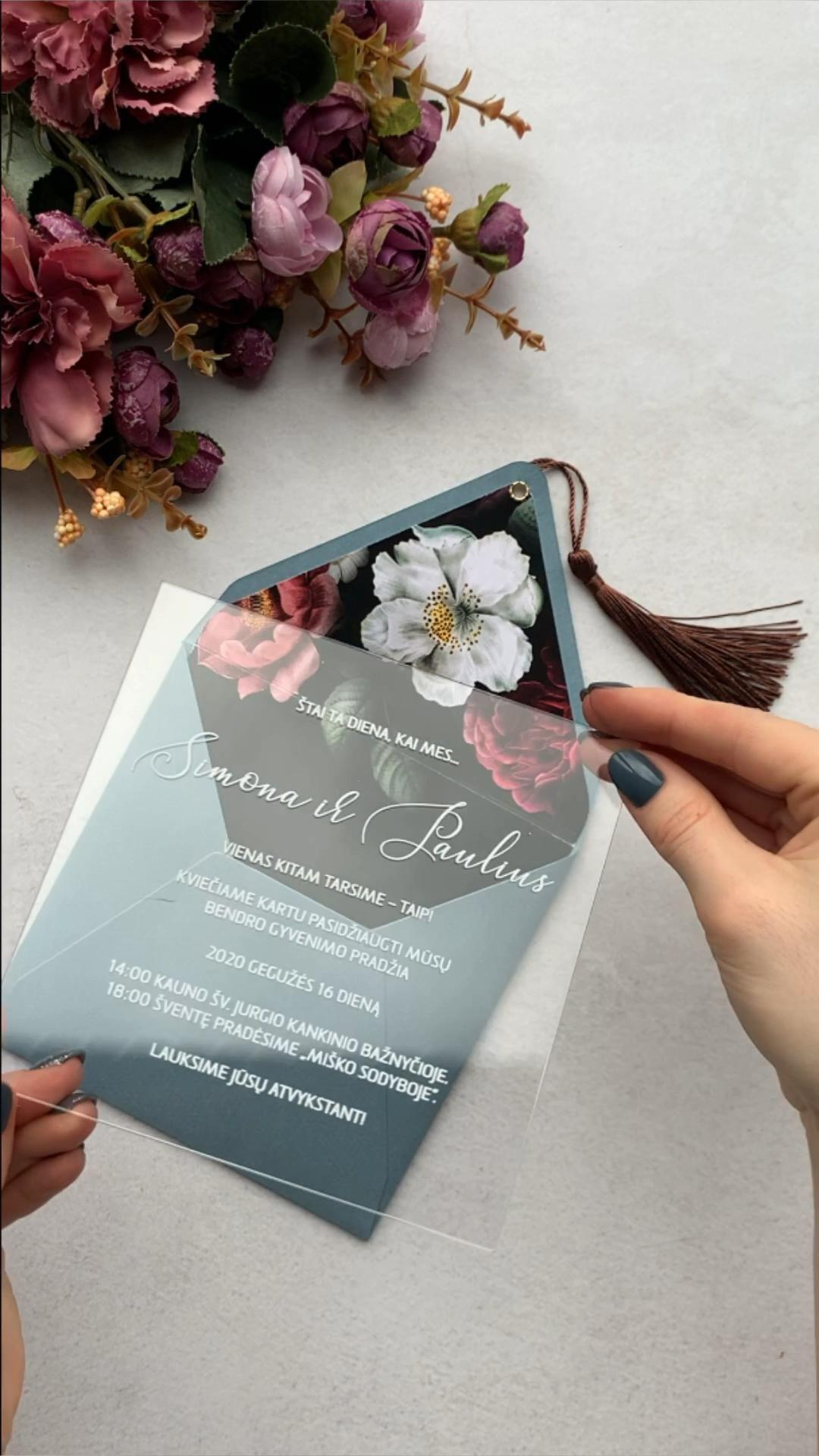 Transparent wedding invitation/ floral design for your wedding
