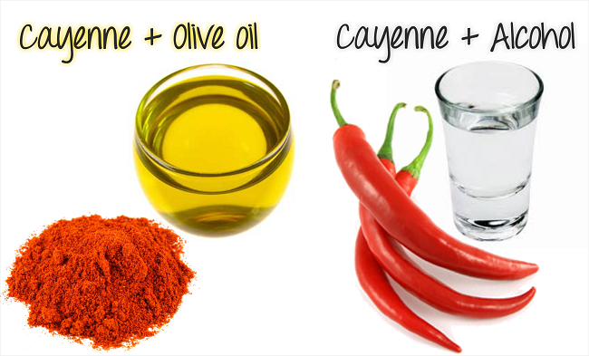 Cayenne and olive oil // Mix 2 tablespoons of powdered cayenne pepper into 4 oz. of olive oil. Apply it to your hair and scalp on one day and then the next day you should shampoo out the cayenne mixture.