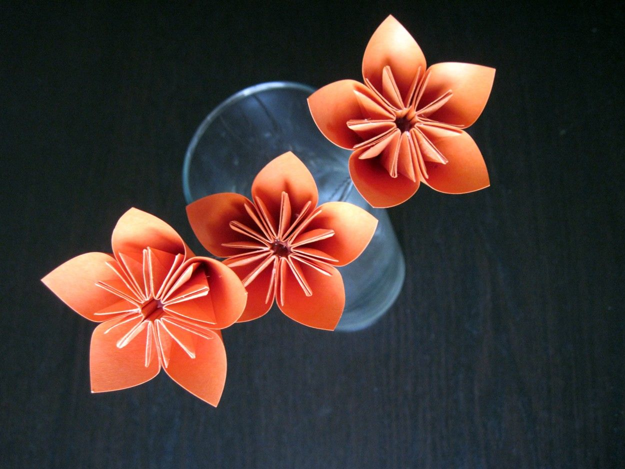 Kusudama Origami Flowers With Stems Orange Set Of 3 By Geekworks