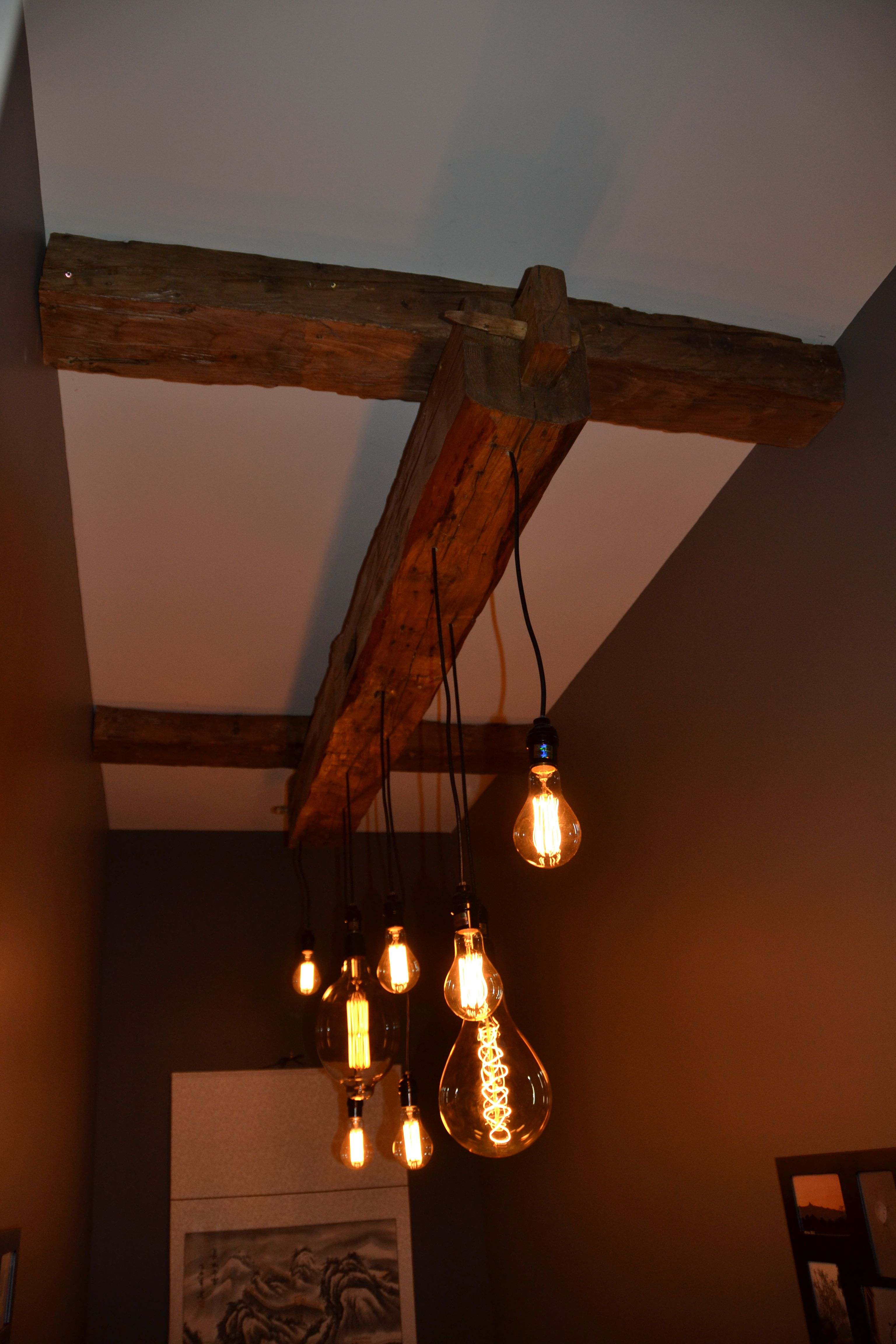 Cool light fixture old barn beam