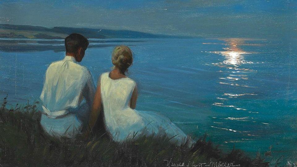 """Harald Slott-Moller (1864-1937) - """"Moonlight"""""""
