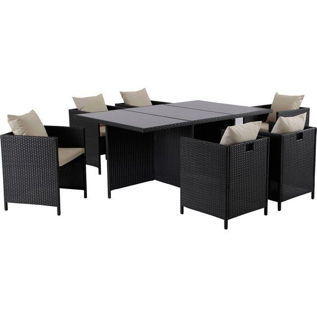 Buy Hand-Woven Rattan Effect Cube 6 Seater Patio Set - Black at ...