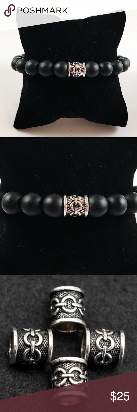 Men mm matte onyx viking bead beaded bracelet boutique vikings