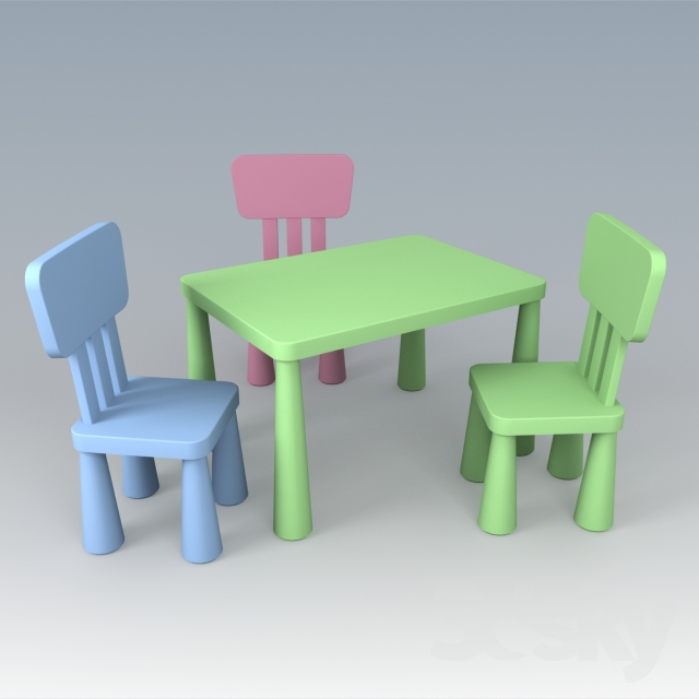 3d Models Table Chair Ikea Children S Furniture Series Of Mammut Ikea Kids Ikea Kids Table And Chairs Childrens Furniture