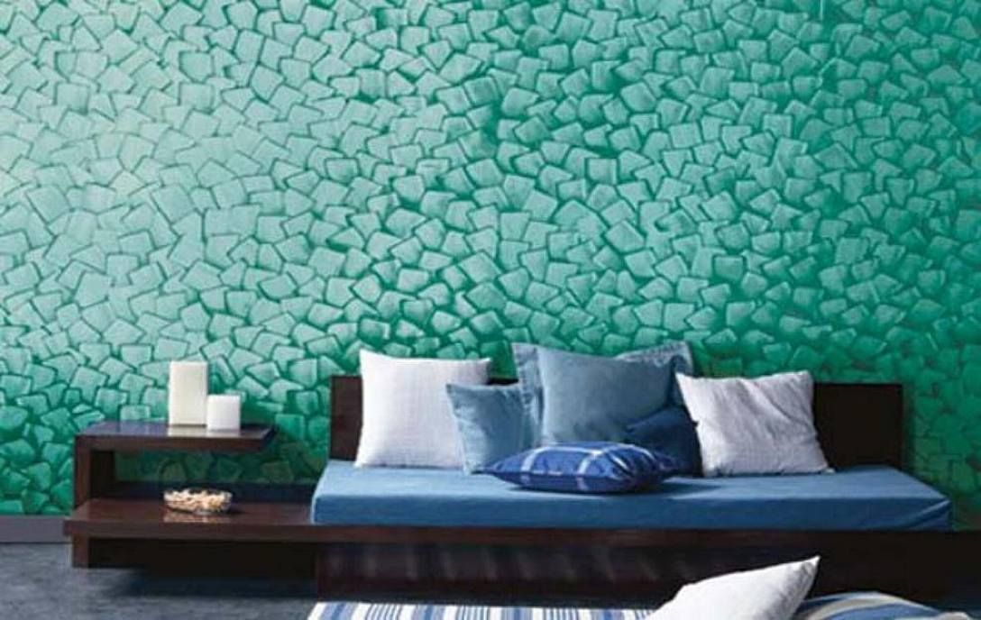 Best tecnique textured paint for walls interior design for Bed wall design