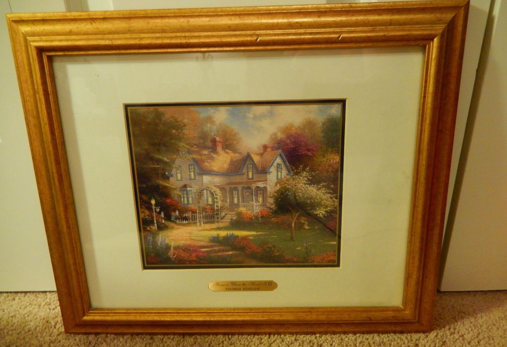 Signed Print Thomas Kinkade Home is where the heart is Certificate - new certificate of authenticity painting