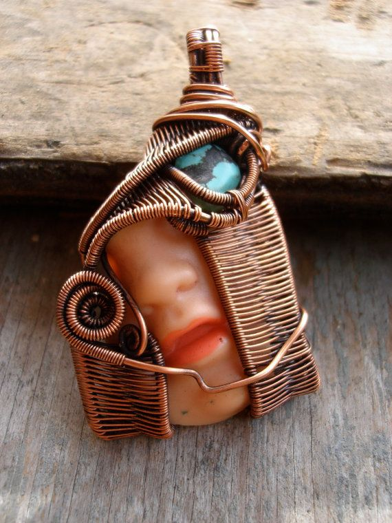 Copper Wrapped // Doll Face // Turquoise // Wire by Magickwrapper, $99.00