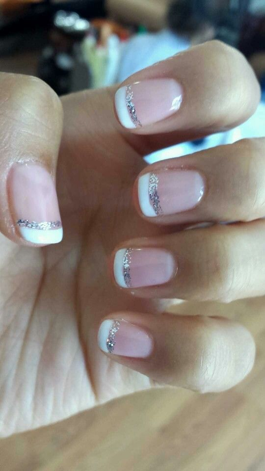 Classic Pink French Manicure (Gel) with silver glitter line. Lasted ...