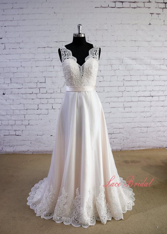 Special Wheat Color Wedding Dress V-Neck Wedding Dress V-Back ...