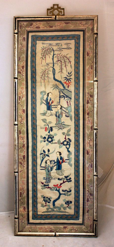 Antique Framed Chinese Silk Tapestry Women Willow Trees River