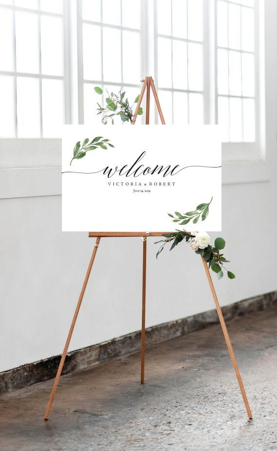 SALE!!! - Welcome to Our Wedding Sign Eucalyptus Wedding Welcome Sign Printable Eucalyptus Greenery Leaf Watercolor Wedding DIY PDF kit1_3