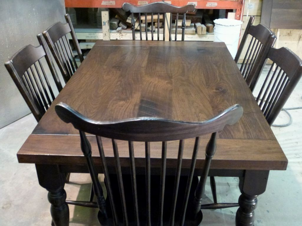 Awesome Rustic Walnut Harvest Table Suite With Distressed Blackwood Chairs And Base