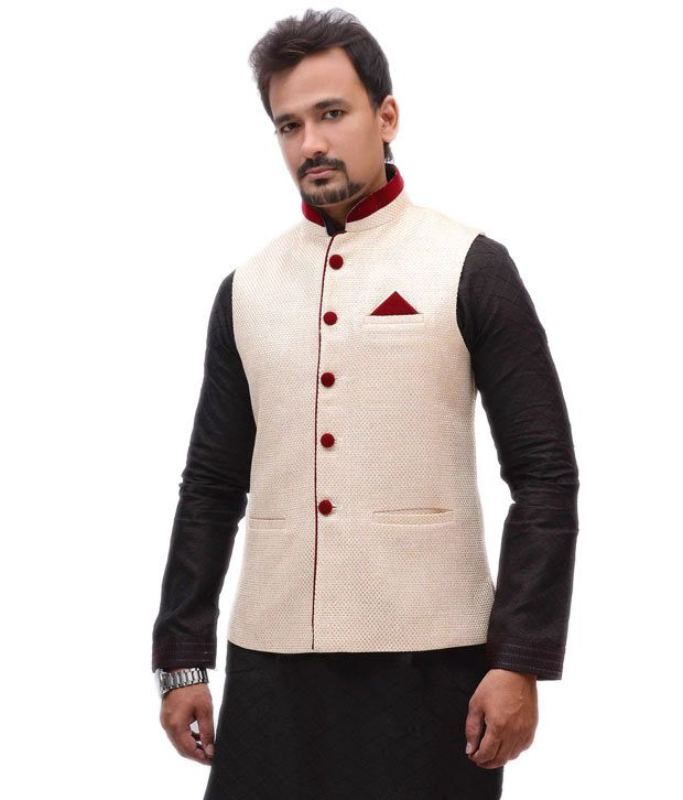 Jute Nehru Jacket Paired With Kurta Is Good For Indian Festival Wear. | Menu0026#39;s Jackets | Pinterest