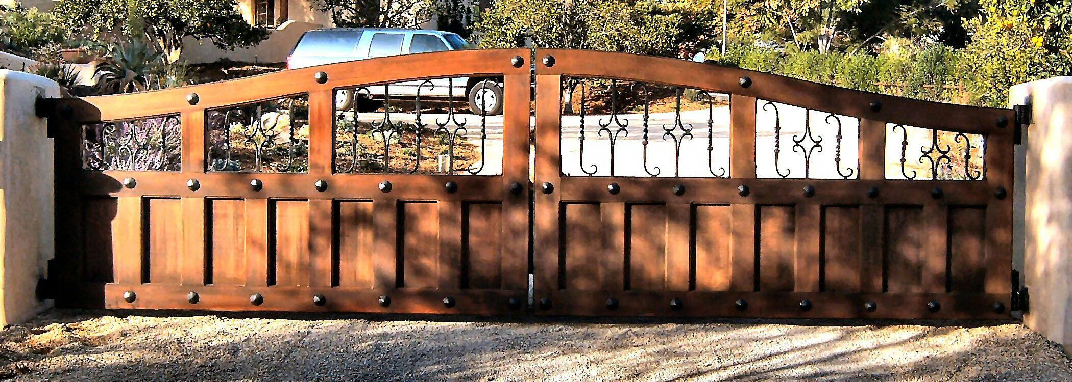 Rustic Or Tuscan Gate Designs Using Clavos Wood And Wrought Iron