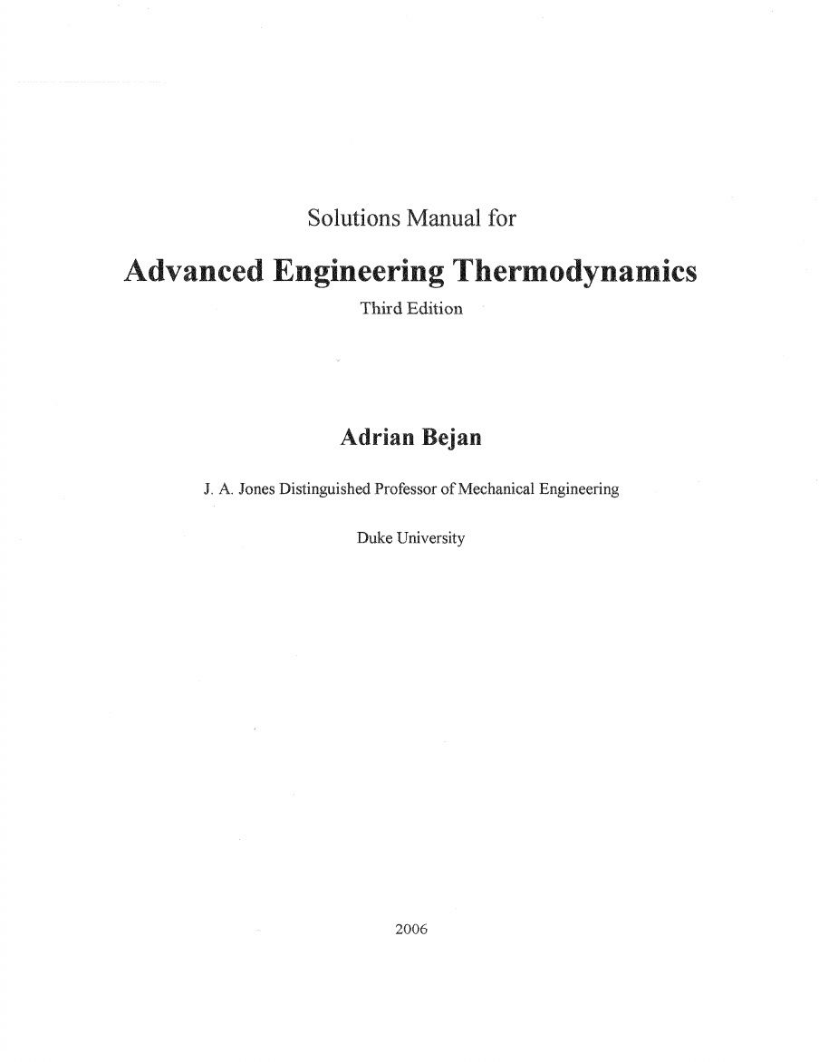 solution manual - Advanced Engineering Thermodynamics 3rd Edition by Adrian  Bejan