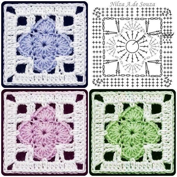 Crochet square fancy motif   haken   Pinterest   Ganchillo ...