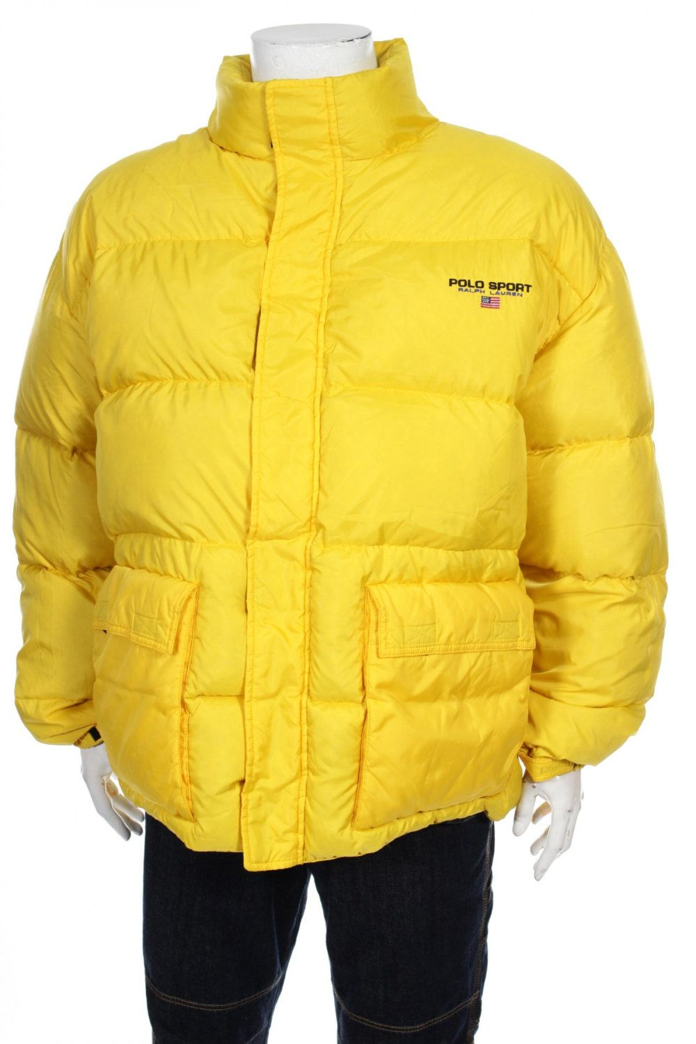 b4d10b962933 VIntage 90s Polo By Ralph Lauren Flag Logo Goose Down Puffer Jacket Yellow  Size XL by VapeoVintage on Etsy